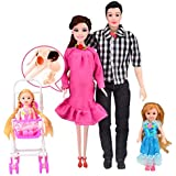 1Set/4PC Doll Family With Clothes,Makaor Pink Dress Real Pregnant Doll MOM & DAD & Daughter Family Toys Set Kids Toy Home Decor (Pink, Baby:5cm/Mom:28cm/Dad:30cm/Daughter:14cm(Approx))