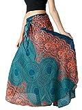Bangkokpants Women's Long Hippie Bohemian Skirt Flowers One Size Fits US 0-12 (Emerald)