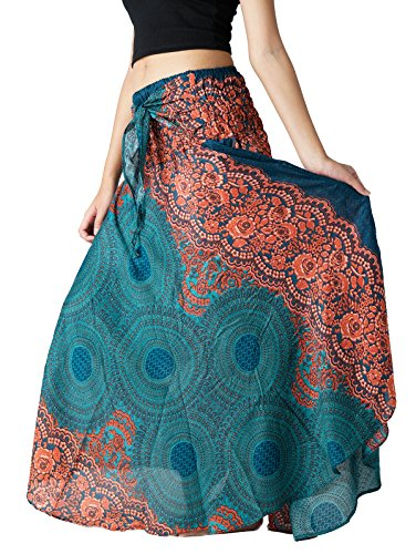 Bangkokpants Women's Long Hippie Bohemian Skirt Gypsy Dress Boho Clothes Flowers One Size Fits (Emerald, One Size) (Wrap Skirt)