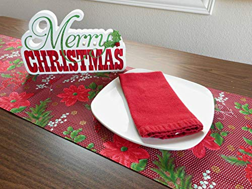 (Poinsettia Christmas Table Runner Holly Berries Polka Dots Burgundy Maroon Red Green Gold Snowflakes Reversible Holiday Decorative)