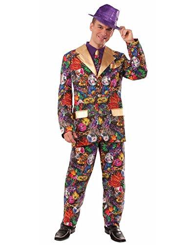Forum Novelties Men's Mardi Gras Suit and Tie Xl Costume, Multi, Standard -