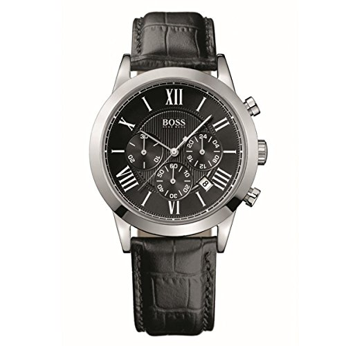 Hugo Boss Men's Black Leather Chronographic Watch (1512574)
