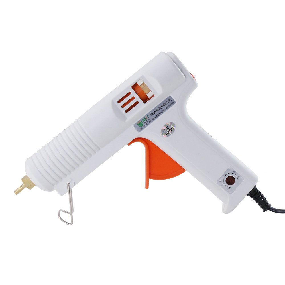 Hot Glue Gun with Adjustable Temperature 100W High/Low Temp Professional Melt Glue Gun Full Size Efficient Trigger High Precision Nozzle for DIY Crafts Home Repairs Industrial Use Decorations, Safe