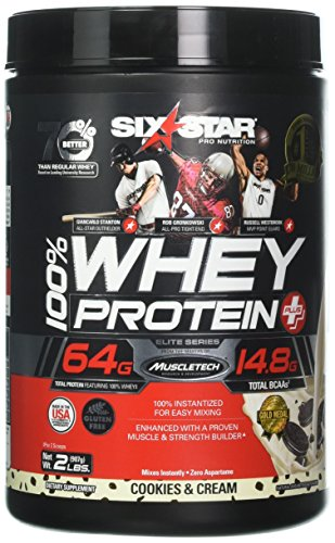 Six Star Pro Nutrition 100% Whey Protein Plus, 64G Ultra-Pure Whey Protein Powder, Cookies and Cream, 2 -