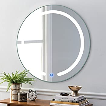 """TANGKULA 20"""" LED Mirror Round Wall Mount Lighted Mirror Bathroom Bedroom Home Furniture Illuminated Vanity Make Up Lamp Wall Mounted Mirror with Touch Button (20"""")"""