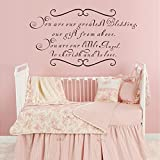 Wall Decal Decor You Are Our Greatest Blessing A Gift From Above - Twin Vinyl Wall Quote Saying Lettering Girl Boy - Nursery Bedroom Decor Wall Decal(Black, 30''h x56''w)