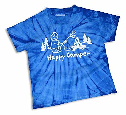 Mountain Graphics Happy Camper Boy's Tye-Dye Camping T-Shirt Small Blue