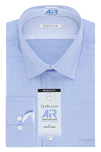 Van Heusen Men's Air Regular Fit Micro Check Spread Collar Dress Shirt, Mineral, 17.5
