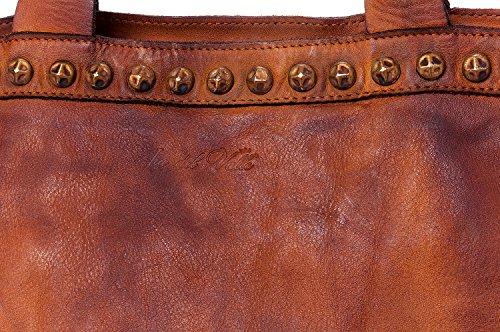 Ira del Valle, Borsa Donna, In Vera Pelle Intrecciata Vintage, Made in Italy, Modello Las Vegas Bag, Borsa Grande a Mano e Spalla con Tracolla da Donna Ragazza Cognac/Tabacco
