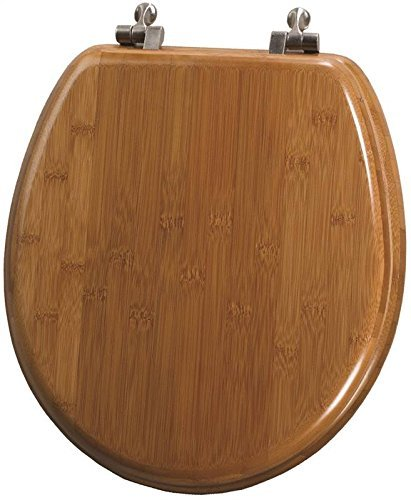 Natural Reflections Toilet Seat - Bemis 7M59401NI 568 Round Closed Front Bamboo Toilet Seat with Cover