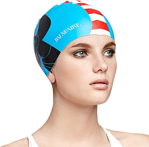 PSIL Silicone Swim Cap for Long Hair,Swimming Caps for Women Men Adults Youths Kids Waterproof Sport