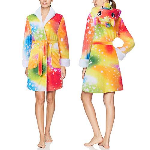 Fromdream Womens Robe Wrap Colorful Unicorn Star Spa Bathrobe with Hood Pockets Teen Girls Animal Nighgrown Long Sleeve Nighgrown Kimono Collar Shower Home Adult Towel Robes Lightweight Yellow
