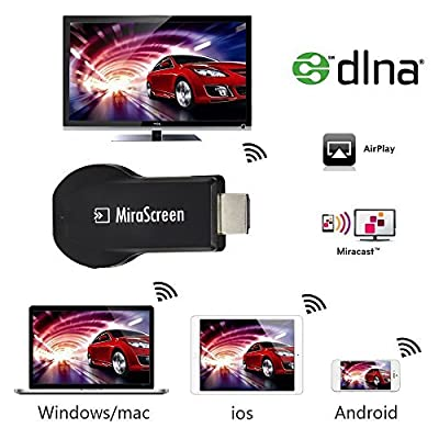 VENSMILE 2.4G Wireless Mirascreen Streaming Media Player Tv Stick WiFi Display Tv Dongle Miracast Receiver Support Andriod Windows IOS Mac OS Share Videos Images Docs Live Camera Musics