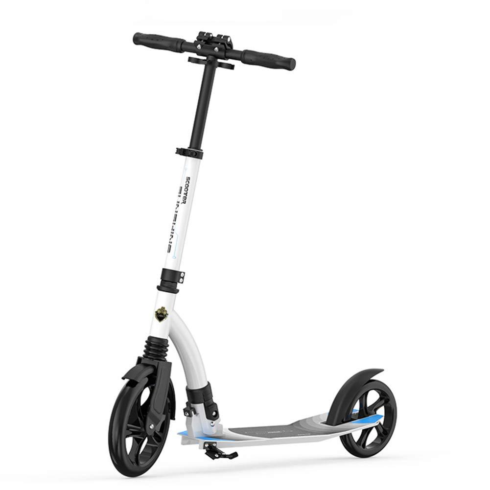 キックスクーター 男女兼用の大人のための大きい車輪のキックスクーター、折りたたみハンドルが付いている携帯用通勤スクーター、大人/ 10代/子供のための誕生日プレゼント、100kgまで、非電気、白 B07M7TS1F3