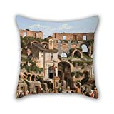Bestseason 16 X 16 Inches / 40 By 40 Cm Oil Painting Christoffer Wilhelm Eckersberg - View Of The Interior Of The Colosseum Pillow Cases ,2 Sides Ornament And Gift To Her,lover,car,kids Boys,teens G