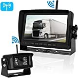 Digital Wireless Backup Camera For Truck/RV/Trailer/Camper/Bus/Boat Over 450 ft Distance No Interference Signals IP69K Waterproof Rear View Camera With On/Off Guide Lines + 7 LCD Monitor