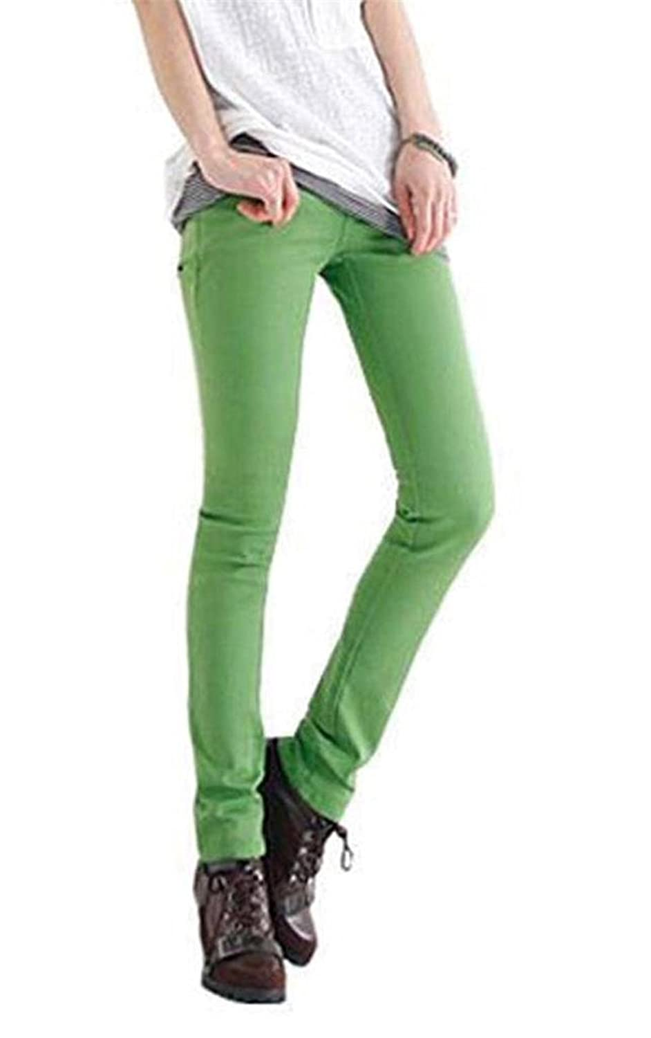 Jeansian Women Sexy Candy Colors Pencil Pants Slim Fit Skinny Stretch Jeans