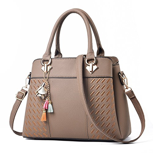 Bags Tote Shoulder Barwell Leather Handle Khaki Top PU Women's Handbags 8vvInqH7