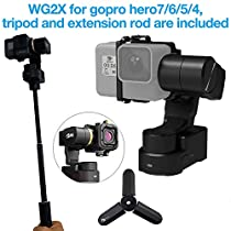 FeiyuTech WG2X Updated 3-Axis Wearable Waterproof Gimbal Stabilizer for GoPro Hero 7/ Hero 6/ Hero 5 / Hero 4 / Session,with Extension Pole&Mini Tripod