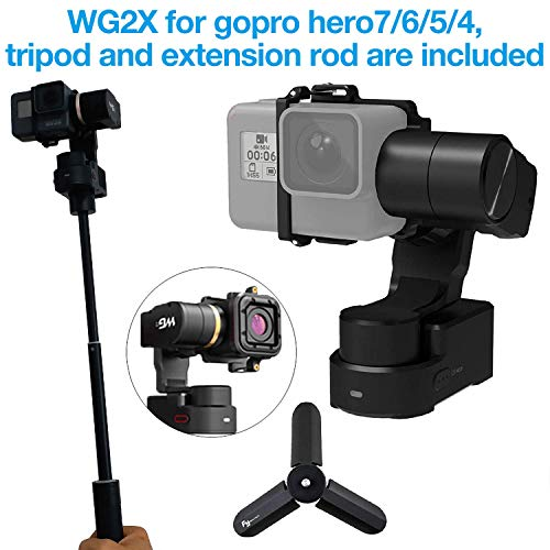 Feiyu WG2X 3-Axis Wearable Gimbal for GoPro Hero 7/6/5/4 Gopro Session AEE SJCam and Other Similar Size Action Cameras Including Tripod Stand and Extension Rod