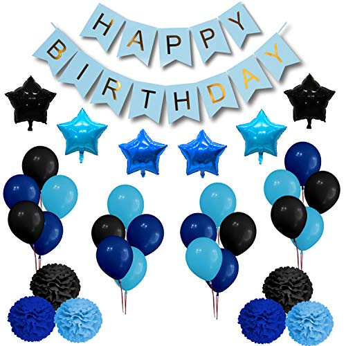 Royal Blue Happy Birthday Party Decorations