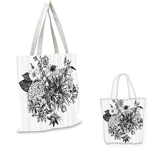 House Decor canvas messenger bag Vintage Floral Bouquet Flowers and Plants Botanic Wedding Theme Hand Drawn Style Picture canvas beach bag Black White. 16