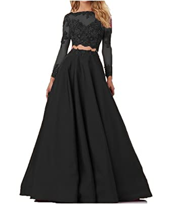 Liaoye Long Sleeves A Line Prom Dress Two Pieces Formal Evening Gowns Black 2