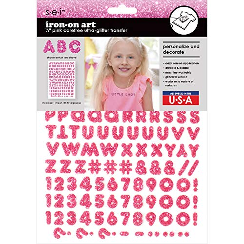 Sei 1/2 Inch Carefree Glitter Letters & Numbers Iron on Transfer, Pink, 1-Sheet