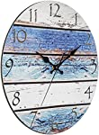 """Bernhard Products Rustic Beach Wall Clock 12"""" Round, Silent Non Ticking - Battery Operated, Fiberboard Wooden Look, Vintage Shabby Beachy Ocean Paint Boards Nautical Decorative Clock (12 Inch)"""