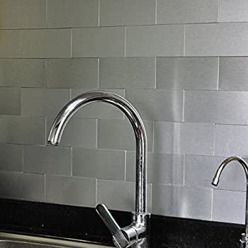 Art3d 100 Pieces Peel And Stick Tile Kitchen Backsplash Metal Wall Tiles,  Brushed Aluminium Subway