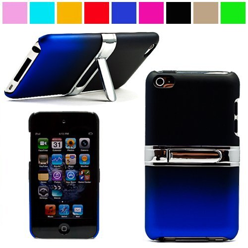 Durable Protective Two Tone Rubberized Crystal Hard Case Cover with Stand Alone Kickstand for iPod Touch 4th Generation ( 8GB 16GB 32GB ) Many Colors Available, Black with Blue