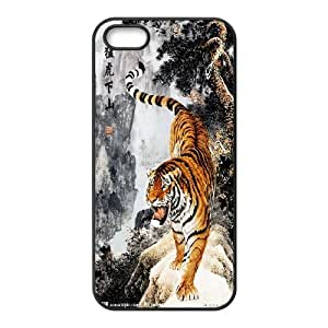The king of beasts Tiger Hard Plastic phone Case Cover+Free keys stand For Apple Iphone 5 5S Cases ZDI040854