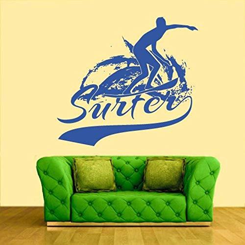 Wall Decal Vinyl Sticker Decals Art Decor Design Sign Surfer Surf Desk Hawaii Extrime Sea Beach Man Gift Kids Children Sport Bedroom GF440 ()