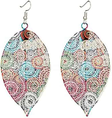 Myhouse Hollow Leaf Print Earrings Vintage Ethnic Ear Pendant Metallic Color Earrings