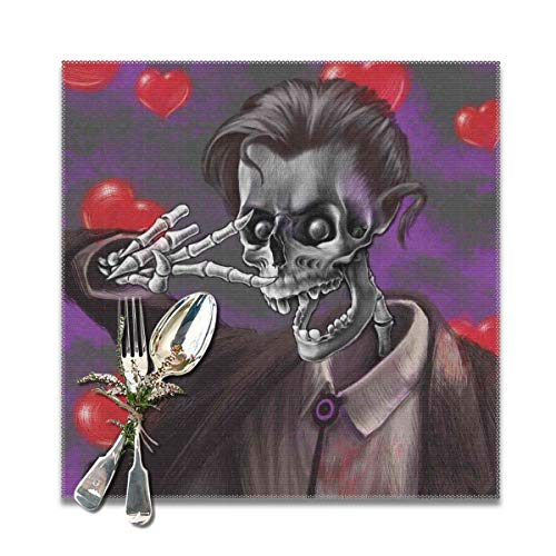(Placemats for Dining Room Kitchen Table Decor,Romantic Skeleton Handsome Corpse Groom with Tuxedo Hearts in The Backdrop Print,Washable Easy to Clean Table Mats Non Slip Placemats Set of 6)
