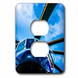 3dRose Alexis Photography - Transport Air - Colorful view of a helicopter nose, rotor blades and sky - Light Switch Covers - 2 plug outlet cover (lsp_267363_6)