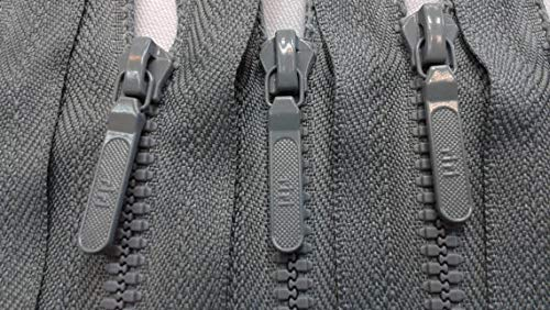 - RiRi Zipper Molded Plastic 5 Inches Closed in Grey for Pockets, Sportswear, Outerwear, Sleeves, Waterproof Gear, Jeans, Pants, Wallets, Bags, Purses and More!