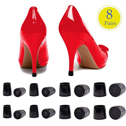 8 Pairs High Heel Protectors, CBTONE Black Heel Stoppers Heel Repair Caps Covers, Anti-Slip and Reduce Noise - X-Small, Small, Medium, Large(4 Size)]()