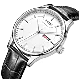 BUREI Mens Stylish Dress Wrist Watches with Pretty Face Day Date Mineral Lens Leather Band