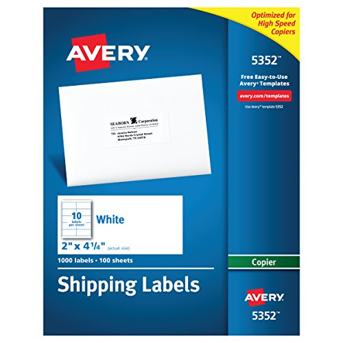 Avery Address Labels for Copiers, 2 x 4-1/4, Box of 1,000 (5352)