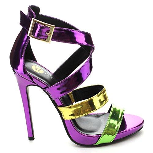 Purple Green Metallic Color Block Strappy Stiletto Heels Faux Leather
