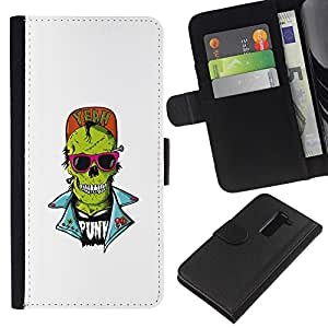 LECELL--Cuero de la tarjeta la carpeta del tirón Smartphone Slots Protección Holder For LG G2 D800 -- Cráneo punky del zombi --