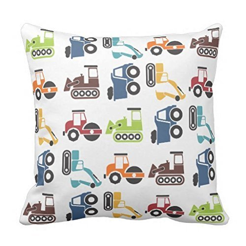 Trendy Throw Pillow Case Decorative Pillow Cover Square Accent Construction Vehicles Cushion Cover for Sofa and Couch 18 x 18
