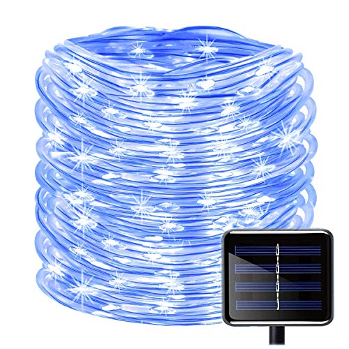 Swimming Pool Lighting - WONFAST 100 LEDs Solar Rope String Lights, Waterproof 39ft/12M Copper Wire Outdoor Tube Fairy String Lights for Christmas Garden Yard Path Fence Tree Backyard (Blue)