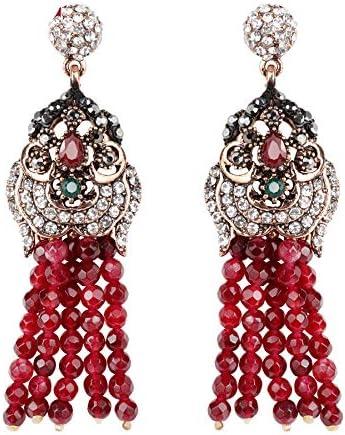 Exaggeration rojo piedra natural borla pendientes para las mujeres estilo étnico oro antiguo cristal novia Vintage joyería de la boda