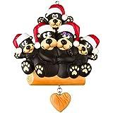 Black Bear Family 5 Personalized Christmas Tree Ornament by Polar X