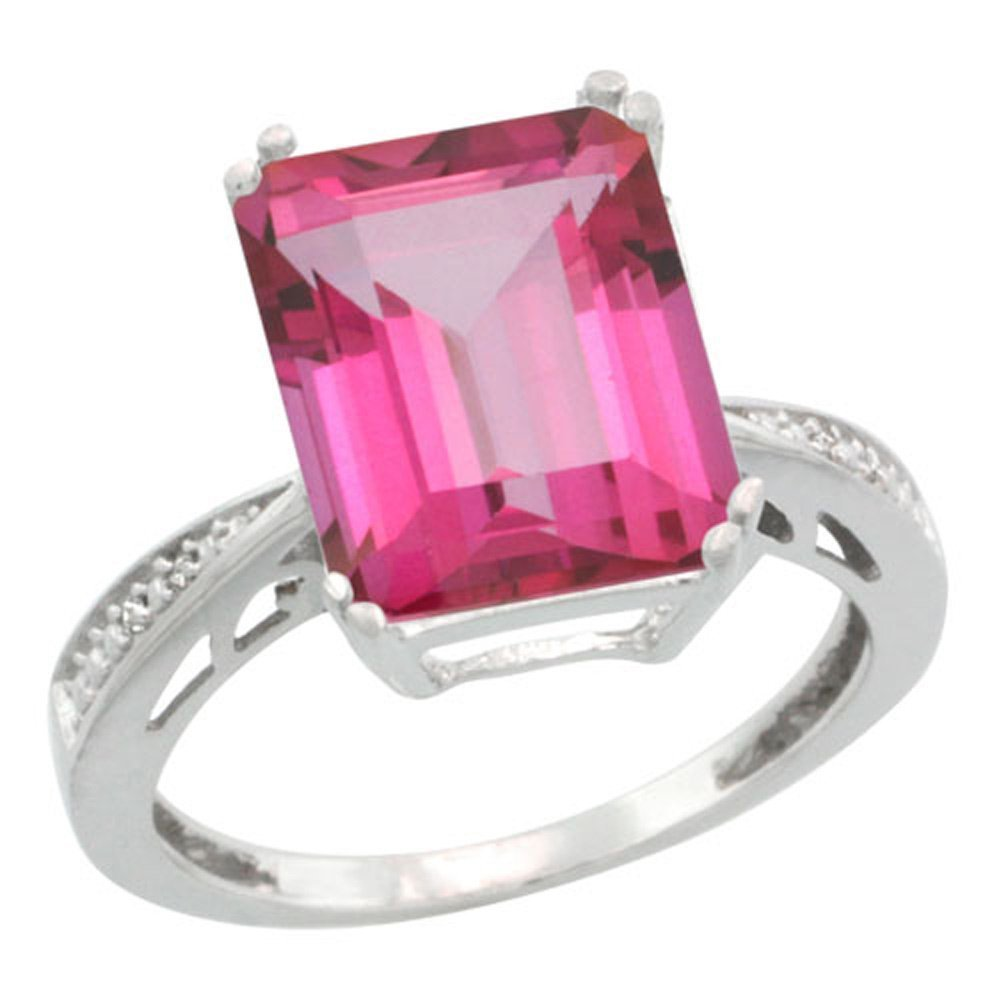 Sterling Silver Diamond Natural Pink Topaz Ring Emerald-cut 12x10mm, 1/2 inch wide, size 9.5