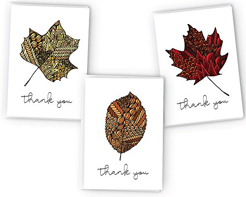 (Autumn Leaves Zentangle Fall Thank You Cards - 24 Cards &)