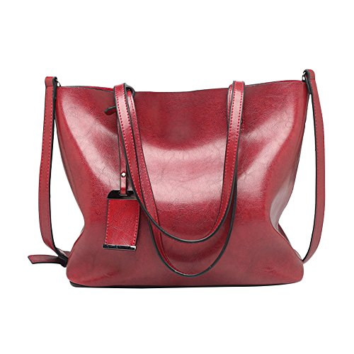 Womens PU Leather Tote Handbags Top Handle Satchel Fashion Hobo Shoulder Bag Purses -