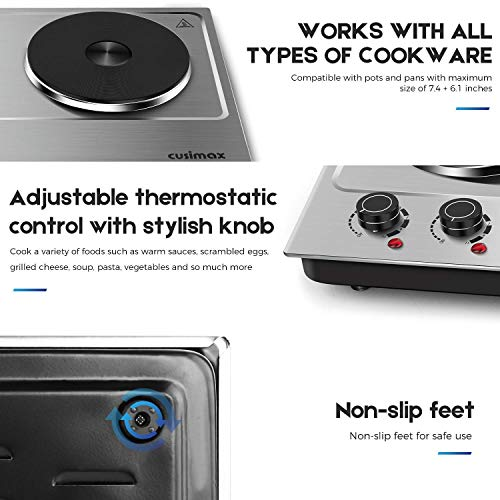 Cusimax Hot Plate Electric Burner Double Burner Cast Iron Heating Plate Portable Double Burner Outdoor Electric Stove 1800W with Adjustable Temperature Control Non-Slip Rubber Feet Black Stainless Steel Easy To Clean Upgraded Version by CUSIMAX-cordial (Image #2)